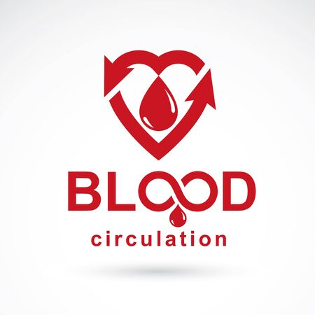 Vector red heart with blood circulation inscription with direction arrows. Blood transfusion metaphor, medical care emblem for use in pharmacy.