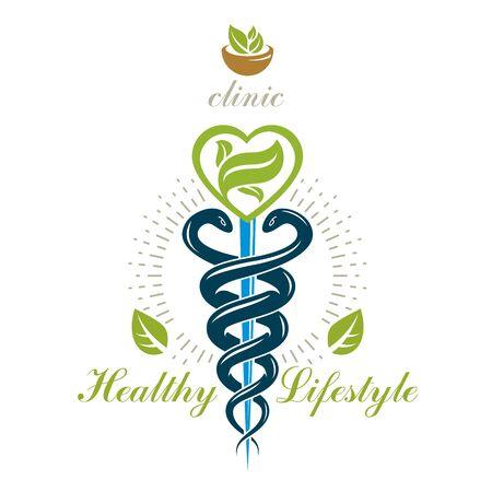Caduceus vector conceptual emblem created with mortar and pestle. Wellness and harmony metaphor. Alternative medicine concept, phytotherapy logo.