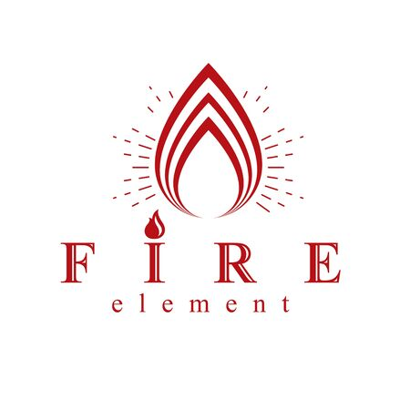 The power of burning fire, nature element vector logo for use in petrol and gas advertising. Çizim