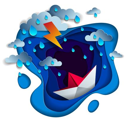 Origami paper ship toy swimming in thunderstorm with lightning, dramatic vector illustration of stormy rainy weather over ocean with toy boat struggles to survive. Illusztráció