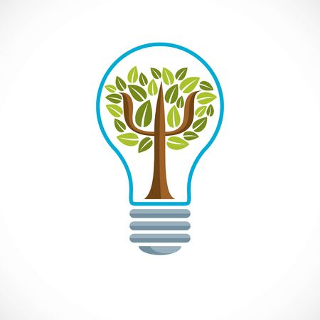 Psychology concept vector logo or icon created with Greek Psi symbol as a tree with leaves inside of idea light bulb, mental health concept, psychoanalysis analysis and psychotherapy therapy. Çizim