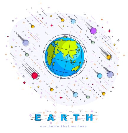 Earth in space, our planet in huge cosmos surrounded by meteorites, asteroids and stars. Cartoon science universe. Thin line 3d vector illustration isolated on white. Banque d'images - 132042678