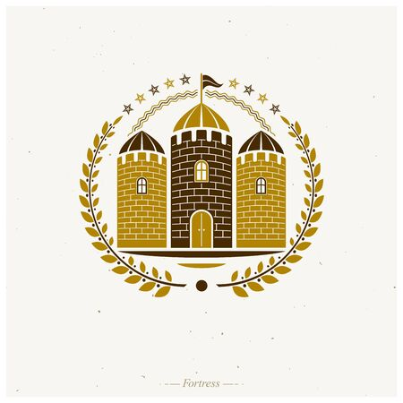 Ancient Castle emblem. Heraldic Coat of Arms decorative logo isolated vector illustration. Antique logotype in old style on white background. Фото со стока - 132042716