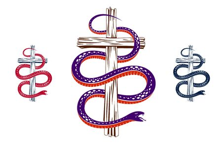 Snake wraps around Christian cross, the struggle between good and evil, saint and sinner, love and hate, life and death symbolic vector illustration logo, emblem or tattoo.