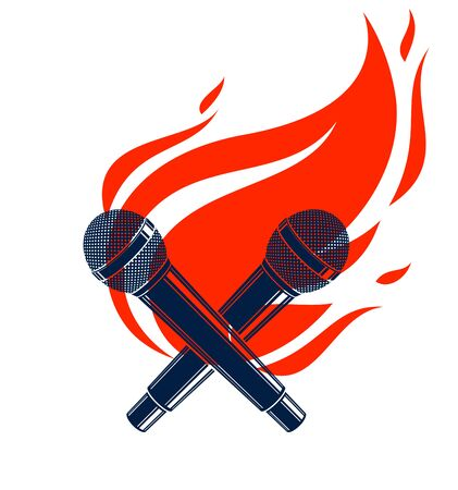 Two microphones crossed on fire, hot mic in flames, rap battle rhymes music, karaoke singing, vector logo or illustration, concert festival or night club label, t-shirt print.