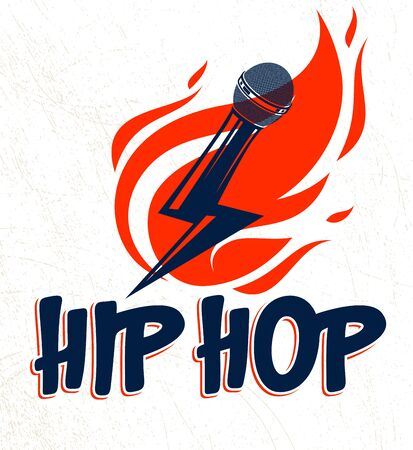 Rap music vector logo or emblem with microphone in a shape of lightning bolt and flames of fire, hot Hip Hop rhymes festival concert or night club party label, t-shirt print. Stock fotó - 132042788