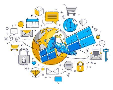 Planetenerde und Satellitenflug-Orbitalflug mit Icon-Set, Internetaktivität, Online-Zahlungen, elektronisches Geschäftskonzept, Marktplatz oder Shop, Vektordesign. Vektorgrafik