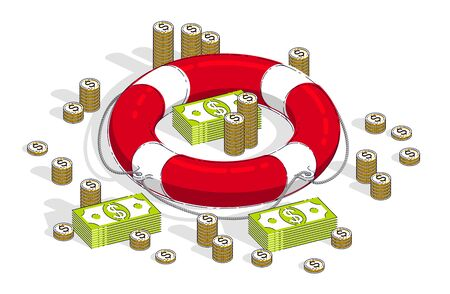 Insurance concept, Life buoy lifebelt with cash money dollar stack and coins isolated on white background. Vector 3d isometric business and finance illustration, thin line design.