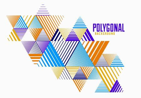 Abstract polygonal background with stripy triangles and 3D cubes vector design. Template for different advertising or covers or banners. Retro style graphic element.