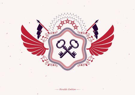 Heraldic emblem made using graphic elements like bird wings, keys and pentagonal stars, vector illustration. Stock Illustratie