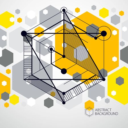 Mechanical scheme, yellow vector engineering drawing with 3D cubes and geometric elements. Engineering technological wallpaper made with honeycombs.