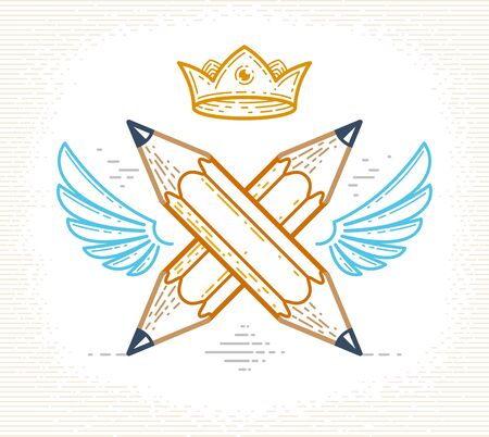 Two crossed pencils with wings and crown, vector simple trendy logo or icon for designer or studio, creative king, royal design, linear style.