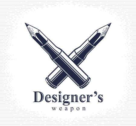 Idea is a weapon concept, weapon of a designer or artist allegory shown as a firearm cartridge cases with pencils instead of bullet, creative power, vector logo or icon.