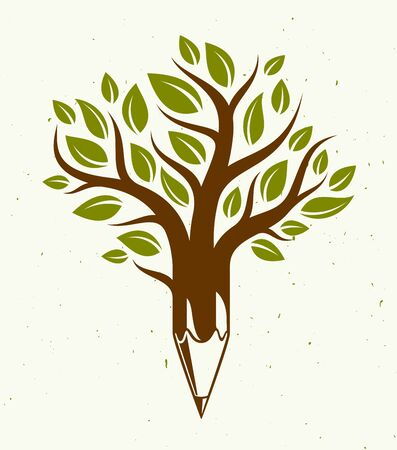 Beautiful tree with pencil combined into a symbol, creativity and ideas concept vector classic style logo or icon. Art and design conceptual allegory.