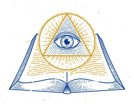 Secret knowledge vintage open book with all seeing eye of god in sacred geometry triangle, insight and enlightenment, masonry or illuminati symbol, vector logo or emblem design element. Illusztráció