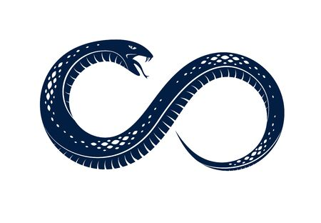Snake eating its own tale, Uroboros Snake in a shape of infinity symbol, endless cycle of life and death, Ouroboros ancient symbol vector illustration logo, emblem or tattoo. Illusztráció