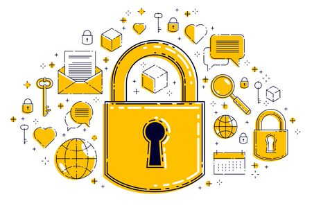 Padlock lock surrounded by different icons set, internet protection concept, antivirus or firewall, data protection personal account password, vector design. Ilustração