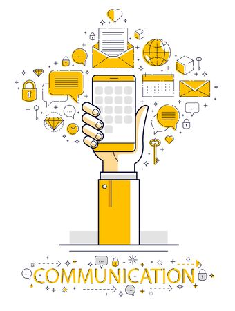 Internet communication and activity, man hands holding phones and using apps, global network, modern communication, messenger, online payments and shopping, vector design.