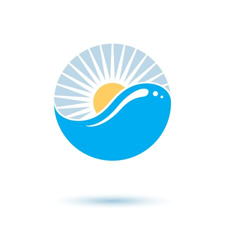 Sea wave splash vector logotype. World water day theme. Human and nature harmony concept.