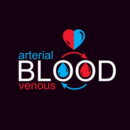 Arterial and venous blood conceptual illustration, blood circulation metaphor, medical theme vector graphic symbol. Stock fotó - 132359287