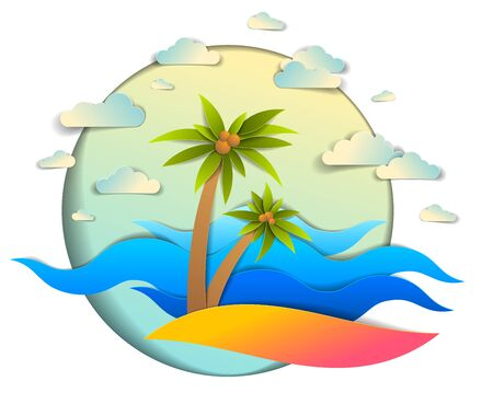 Beautiful seascape with sea waves, beach and palms, clouds in the sky, vector illustration in paper cut style, seashore summer beach holidays theme. Vetores