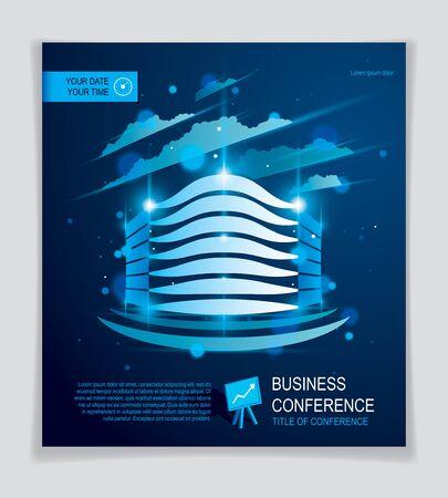 Futuristische Gebäudeanzeige, moderne Vektorarchitekturbroschüre mit unscharfem Licht- und Blendeffekt. Blaues Design des Immobilien-Geschäftszentrums. 3D futuristische Fassadengeschäftskonferenzschablone.