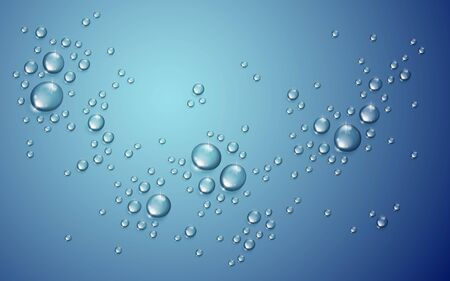 Water drops in shower or pool, condensate or rain droplets realistic transparent vector illustration, easy to put over any background or use droplets separately.