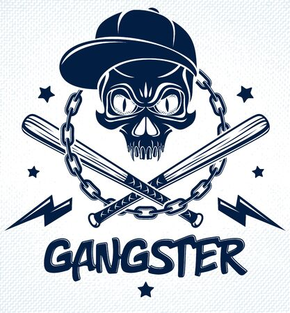 Gang brutal criminal emblem or logo with aggressive skull baseball bats and other weapons and design elements, vector anarchy crime terror retro style, ghetto revolutionary.  イラスト・ベクター素材