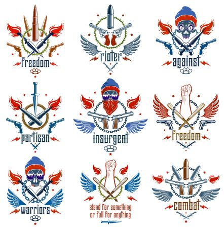 Revolution and Riot aggressive emblem or logo with strong clenched fist, aggressive skull, bullets and guns, weapons and different design elements , vector tattoo, rebel and revolutionary.