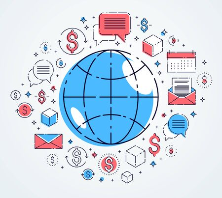 Global communication concept, planet earth with different icons set, big data, internet activity, global network connection, vector, elements can be used separately.