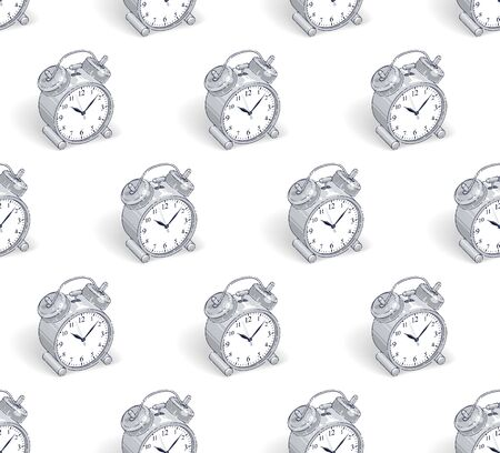 Alarm clocks seamless background, timer, deadline hurry and wake up concept, vector wallpaper or web site background. Ilustrace