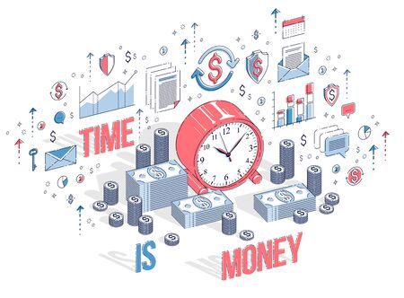 Time is Money concept, table Clock with cash money stacks and coin piles isolated on white background. Isometric 3d vector finance illustration with icons, stats charts and design elements. Ilustrace