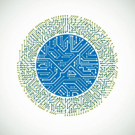 Élément cybernétique de la communication technologique. Illustration abstraite de vecteur de circuit imprimé en forme de cercle. Vecteurs