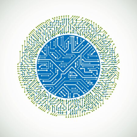 Technology communication cybernetic element. Vector abstract illustration of circuit board in the shape of circle. Vettoriali