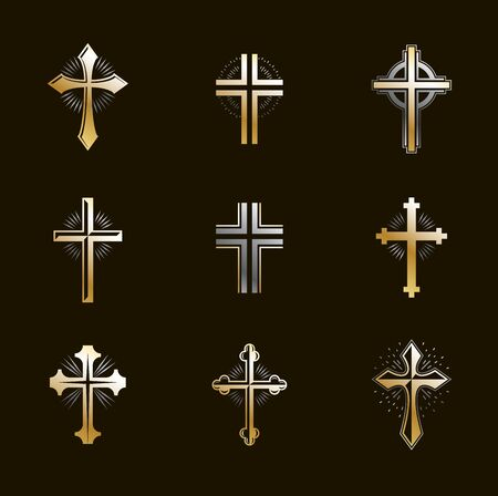 Crosses emblems vector emblems big set, Christian religion heraldic design elements collection, classic style heraldry symbols, antique designs.