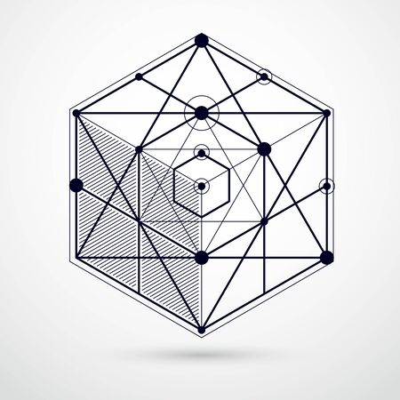 Lines and shapes abstract vector isometric 3D black and white background. Abstract scheme of engine or engineering mechanism. Layout of cubes, hexagons, squares, rectangles and different elements 일러스트