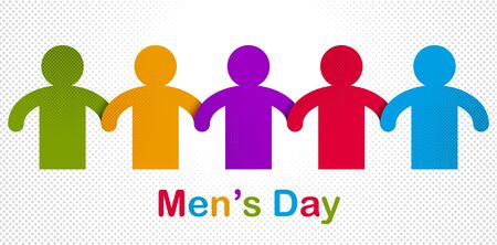Man day international holiday, gentleman club, male solidarity concept vector illustration icon or greeting card. Illustration