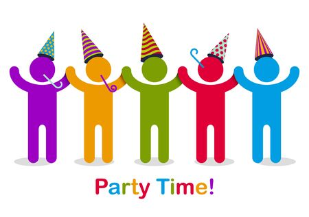 Celebrating people vector concept simple illustration or icon, celebration anniversary or holiday fun, group of cheerful happy people having fun at party. Stock Illustratie