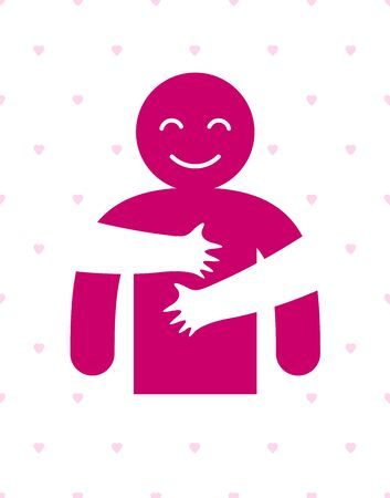 Hugs with loving hands of loved person, lover woman hugging his man and shares love, vector icon logo or illustration in simplistic symbolic style.
