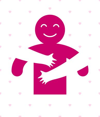 Hugs with loving hands of beloved person, lover woman hugging his man and shares love, vector icon logo or illustration in simplistic symbolic style. Illusztráció