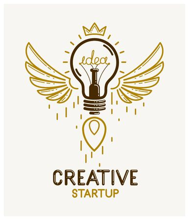 Idea light bulb with wings launching like a rocket vector linear logo or icon, creative idea startup, science invention or research lightbulb, new business start.