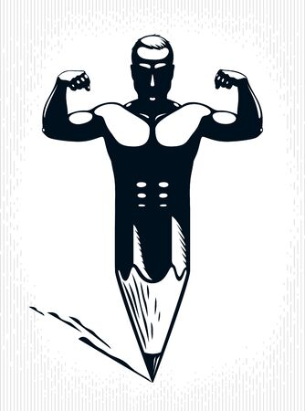 Strongman muscle man combined with pencil into a symbol, strong design concept, creative power allegory, vector perfect classic style logo or icon.