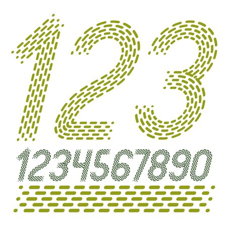 Vector numbers, modern numerals set. Rounded bold italic retro numeration from 0 to 9 can be used for logo creation. Created using dashes, parallel lines.