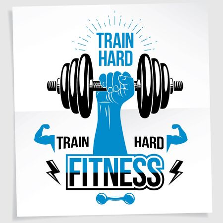 Bodybuilding motivation poster. Vector composition of muscular sportsman arm holds disc weight dumbbell sport equipment. Train hard quote. 일러스트