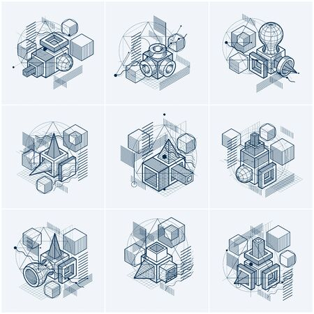 Isometric abstract backgrounds with linear dimensional shapes, vector 3d mesh elements. Compositions of cubes, hexagons, squares, rectangles and different abstract elements. Vector collection. 일러스트