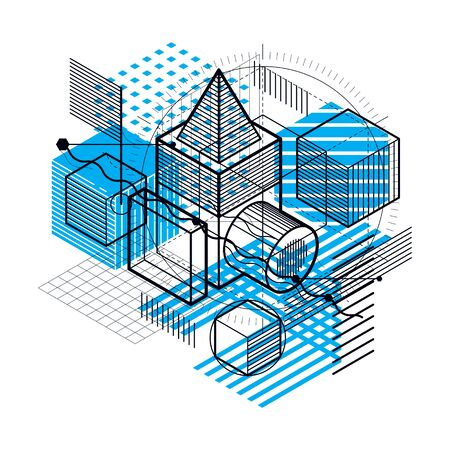 Abstract design with 3d linear mesh shapes and figures, vector isometric background. Cubes, hexagons, squares, rectangles and different abstract elements. 일러스트