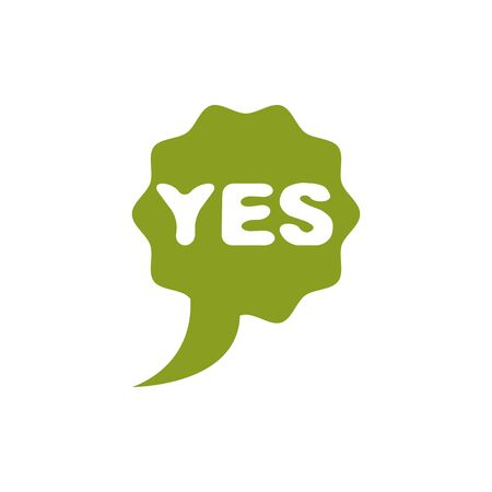 Green yes checkmark, right. Vector voting sign, choice metaphor isolated on white. Stock Illustratie