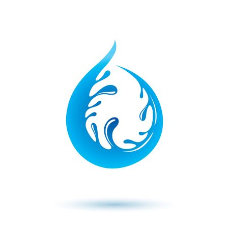 Vector blue clear water drop icon for use in mineral water advertising. Body cleansing concept. Illusztráció