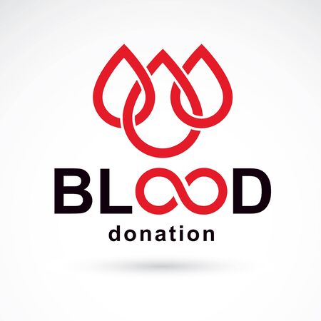 Vector blood donation inscription created with limitless symbol. Save life and donate blood conceptual illustration. Иллюстрация