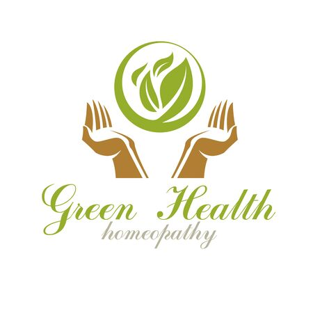 Caring hands holding green spring leaves. Medical rehabilitation abstract logo. Imagens - 133160681